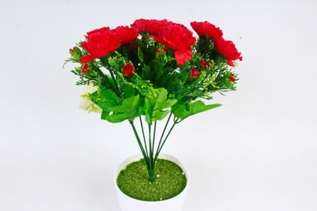 Искусственное растение - Гвоздики с туей  красные
