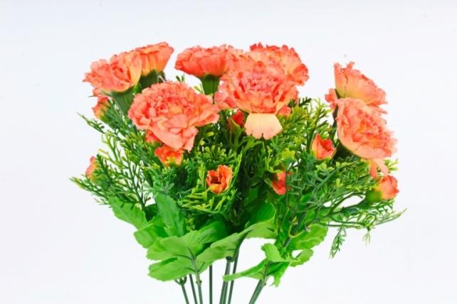Искусственное растение - Гвоздики с туей оранжевые