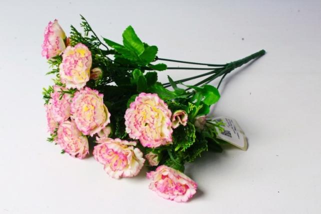 Искусственное растение - Гвоздики с туей  персиково-розовые