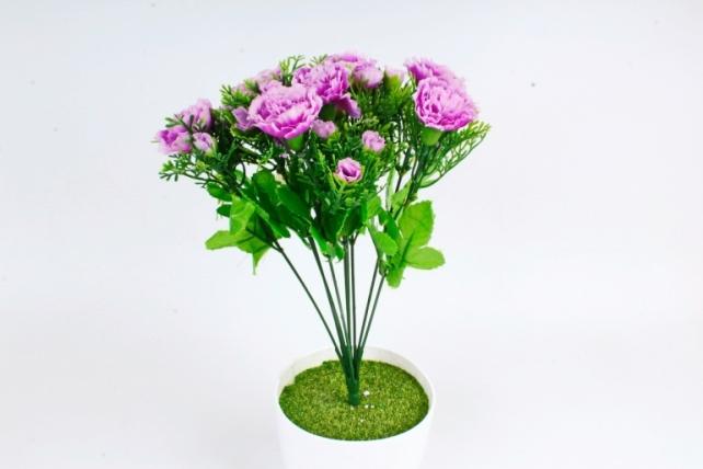 Искусственное растение - Гвоздики с туей  пурпурные