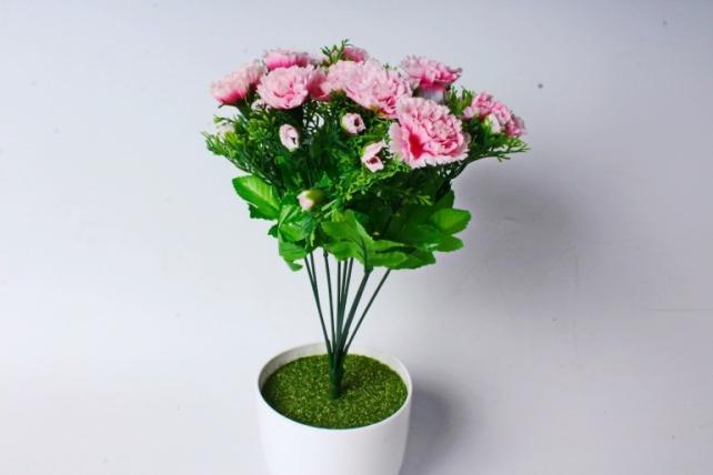 Искусственное растение - Гвоздики с туей  розовые