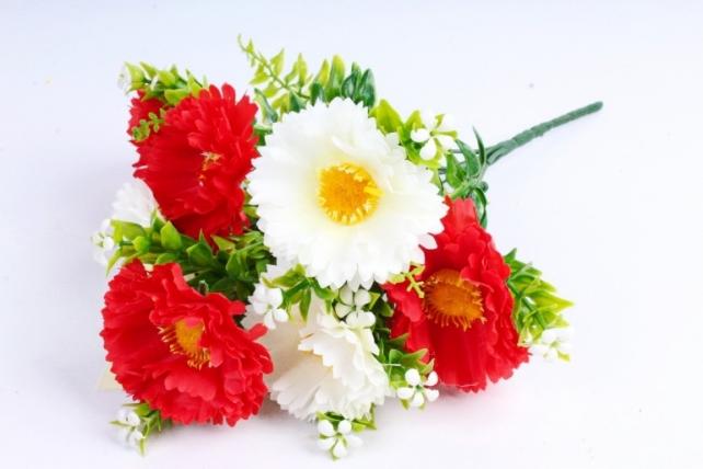 Искусственное растение - Хризантемы красно-белые