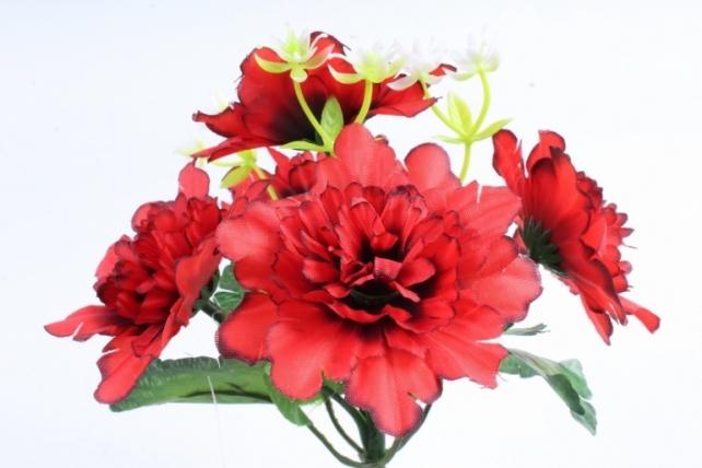Искусственное растение - Хризантемы с  декором   красные