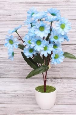Искусственное растение - Календула Н=43 см голубая Б11003