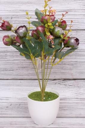 Искусственное растение - Камелия перламутровая Н=35 см бордо/пепельный Б8007