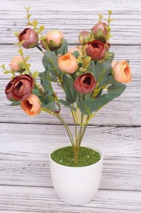 Искусственное растение - Камелия перламутровая Н=35 см персик/шоколад  Б8007