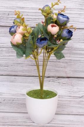 Искусственное растение - Камелия перламутровая Н=35 см персик/синяя  Б8007