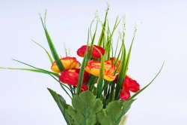 """Искусственное растение - Камелия с """"кашкой"""" красно-жёлтая"""