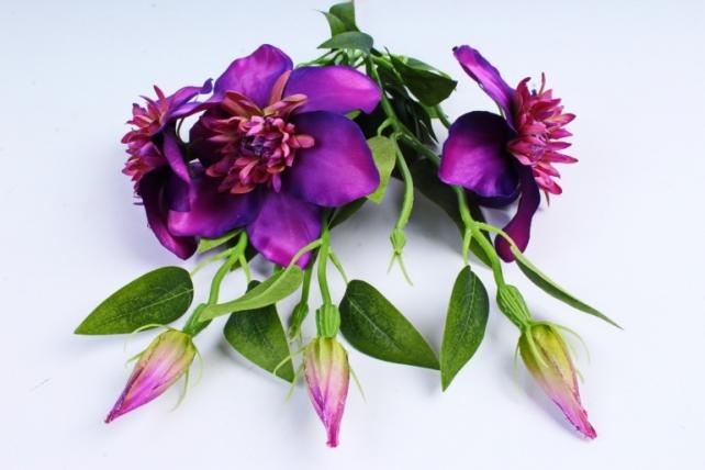 Искусственное растение - Клематис фиолетовый   (3 шт в уп)  SUN540
