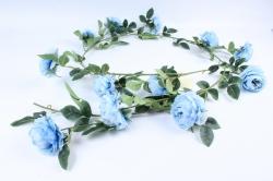 Искусственное растение - Лиана с пионами голубыми Н= 2м Тцк