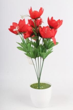 Искусственное растение - Лотос красный Н=48 см Б11068
