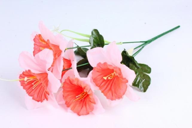 Искусственное растение - Нарциссы бело-коралловые
