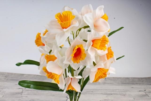Искусственное растение - Нарциссы бело-оранжевые   Б9738