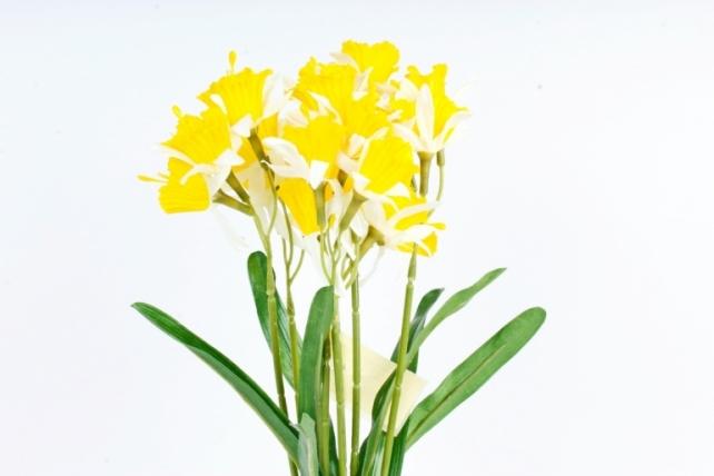 Искусственное растение - Нарциссы жёлто-белые