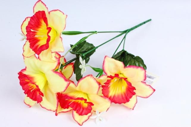 Искусственное растение - Нарциссы жёлто-красные