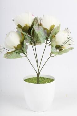 Искусственное растение - Пионы Мелодия белые Н=34 см Б11083