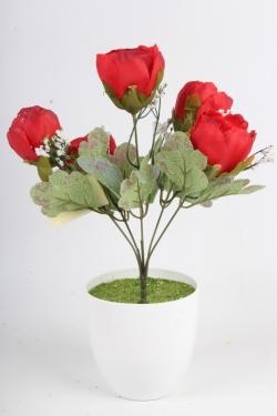 Искусственное растение - Пионы Мелодия красные Н=34 см Б11083