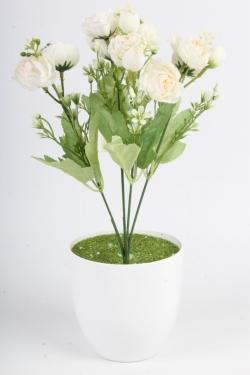 Искусственное растение - Пионы садовые белые Н=33 см Б11066