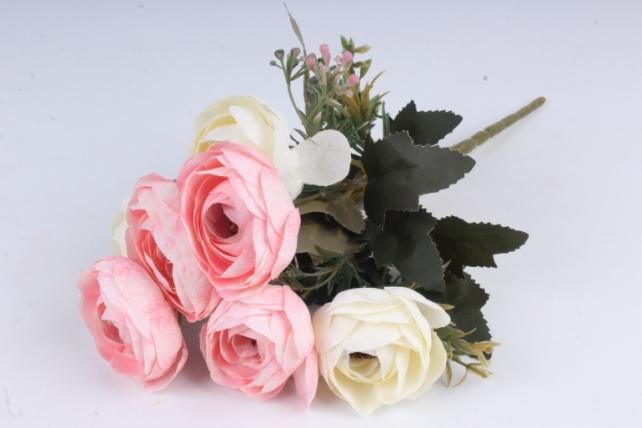 Искусственное растение - Ранункулюс мраморный бело-розовый Н=33 см Б10880