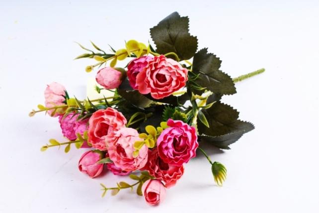 Искусственное растение - Ранункулюс Винтаж коралл/малиновый