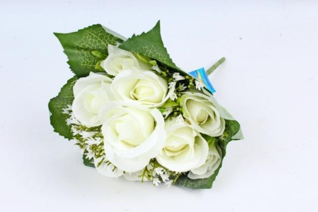 Искусственное растение - Роза букет в листьях  белая