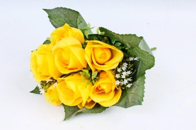 Искусственное растение - Роза букет в листьях  жёлтая