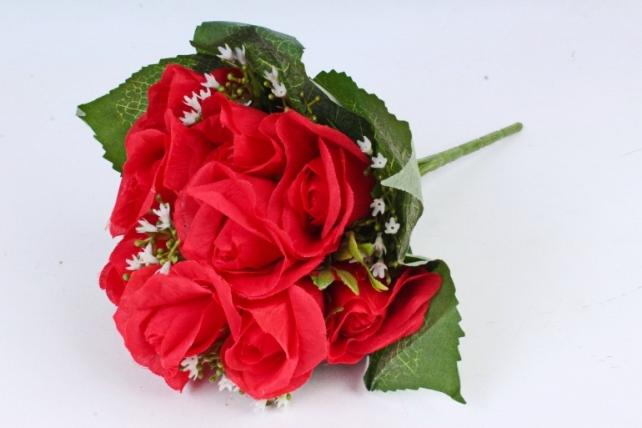 Искусственное растение - Роза букет в листьях  красная