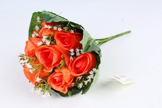 Искусственное растение - Роза букет в листьях  оранжевая