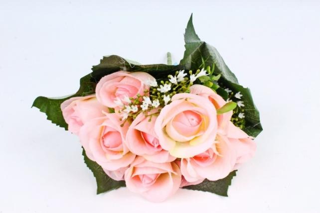 Искусственное растение - Роза букет в листьях розовая