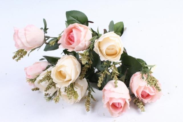 """Искусственное растение - Роза """"Бутоны"""" бело-розовая"""