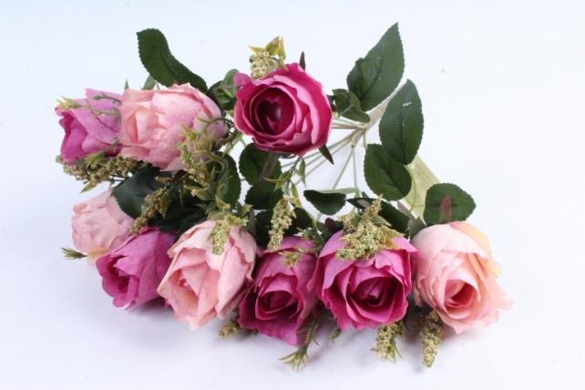 """Искусственное растение - Роза """"Бутоны"""" сиренево-малиновая"""