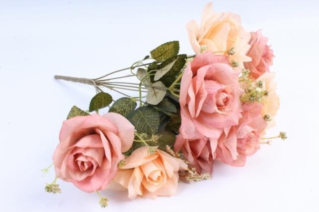 Искусственное растение - Роза французская персик/коричневая Н=40 см Тцк