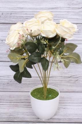 """Искусственное растение - Роза """"Жасмин"""" белая Н=33 см Б10667"""