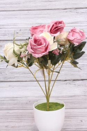 """Искусственное растение - Роза """"Жасмин"""" бело-пудровая Н=33 см Б10667"""