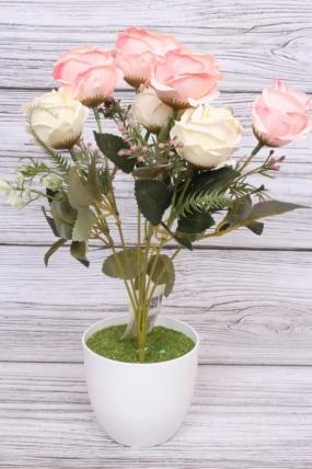 """Искусственное растение - Роза """"Жасмин"""" бело-розовая Н=33 см Б10667"""