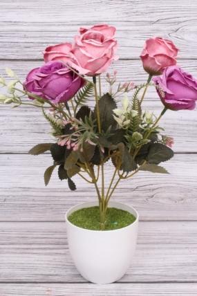 """Искусственное растение - Роза """"Жасмин"""" пудрово-малиновая Н=33 см Б10667"""