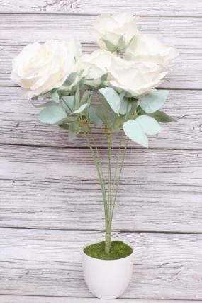 Искусственное растение - Роза пудра белая Н=50 см Б10986
