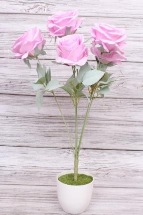 Искусственное растение - Роза пудра сиренево-розовая Н=50 см Б10986