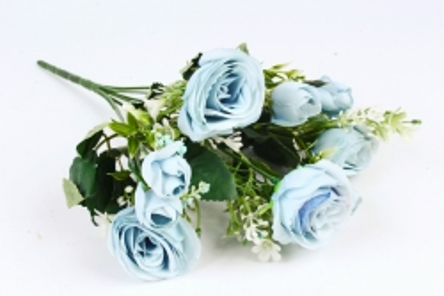 Искусственное растение - Роза с бутончиками голубая  Б10828