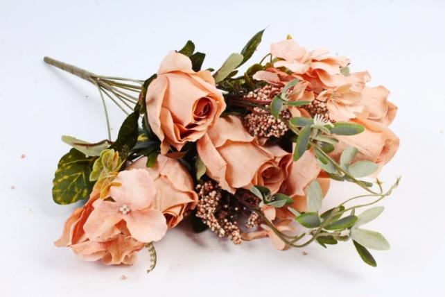 Искусственное растение - Роза с гортензией  каппучино