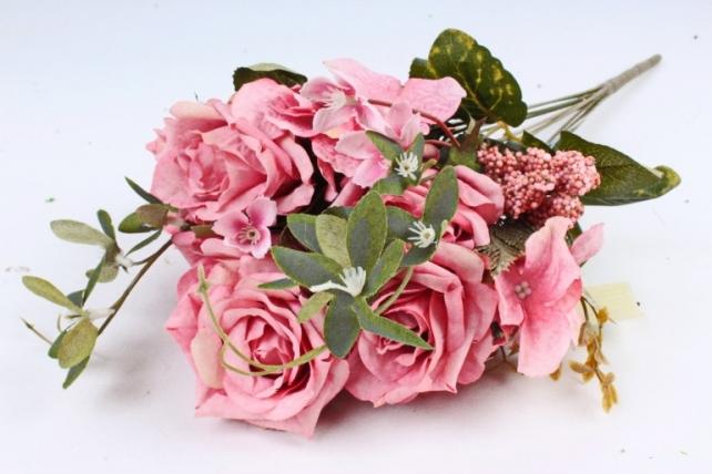 Искусственное растение - Роза с гортензией  коралловая