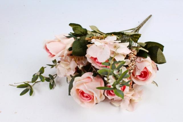 Искусственное растение - Роза с гортензией  нежно-розовая