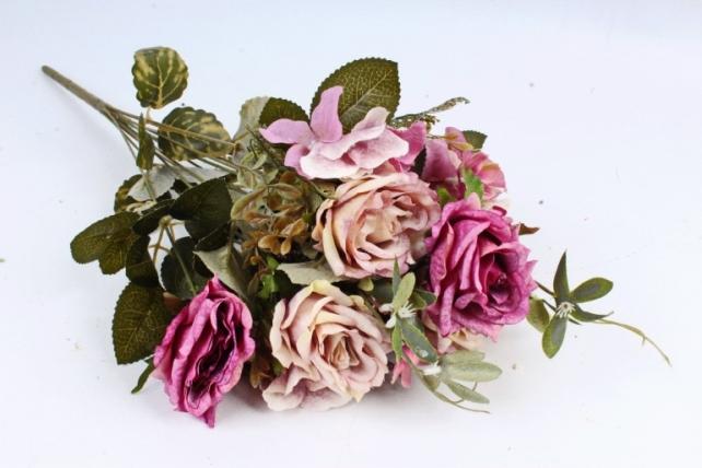 Искусственное растение - Роза с гортензией  пепельная