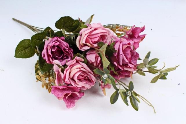 Искусственное растение - Роза с гортензией  пепельно-малиновая