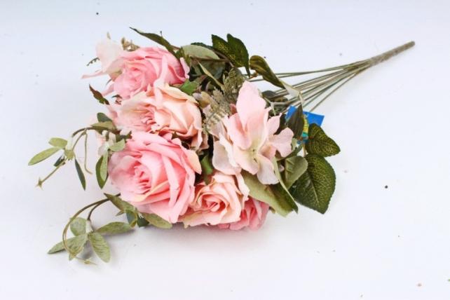 Искусственное растение - Роза с гортензией  розовая