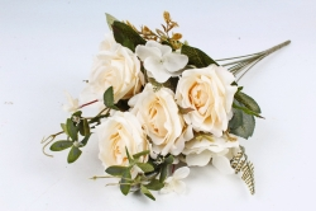 Искусственное растение - Роза с гортензией  шампань