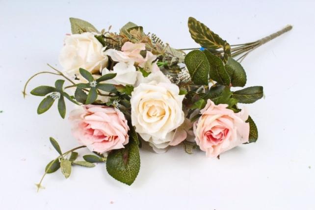 Искусственное растение - Роза с гортензией  шампань/розовая