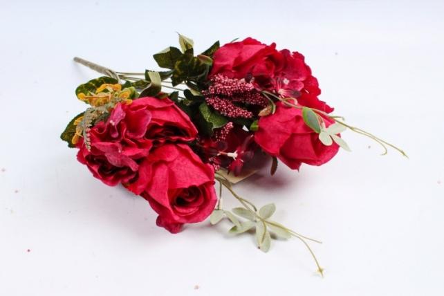 Искусственное растение - Роза с гортензией  тёмно-красная