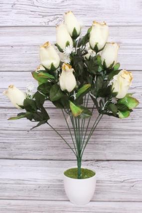 Искусственное растение - Роза в бутонах с золотым краем белая Н=52 см Б10893