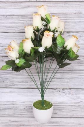 Искусственное растение - Роза в бутонах с золотым краем бело-розовая Н=52 см Б10893
